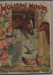 HOLIDAY HOURS two children with horses and chickens at stall door