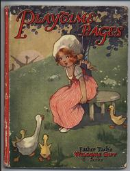 PLAYTIME PAGES girl sits on stool and geese approach