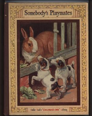 SOMEBODY'S PLAYMATES rabbit in pen with two dogs looking in