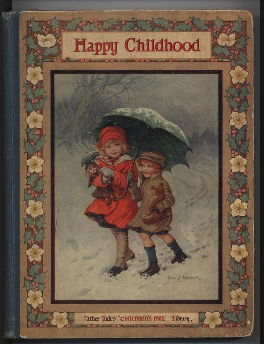 HAPPY CHILDHOOD two children walk in snow under umbrella