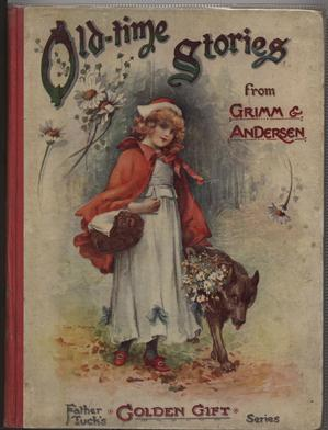 OLD-TIME STORIES FROM GRIMM AND ANDERSEN Little Red Riding Hood walks beside wolf