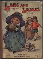 LADS AND LASSES girl in puffy blue dress walks with puppy, two other children follow behind