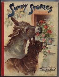 SUNNY STORIES two donkeys eating flowers at window sill
