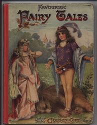 FAVOURITE FAIRY TALES lady in pink fancy dress, man in purple tunic stands above slain bear