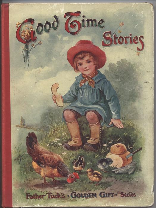GOOD TIME STORIES small child dressed in blue eating bread and feediing chickens