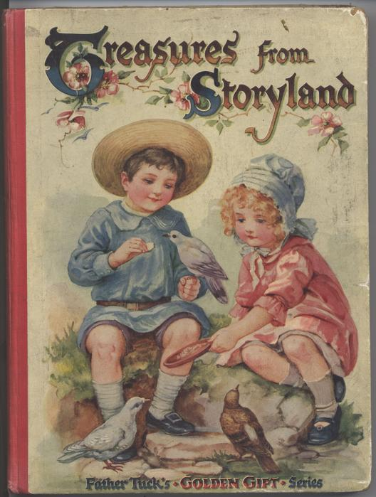 TREASURES FROM STORYLAND boy and girl sit and feed pigeons