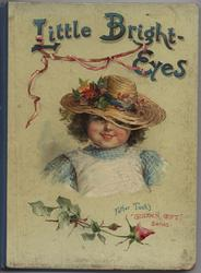 LITTLE BRIGHT EYES head and shoulders of small girl wearing hat and apron