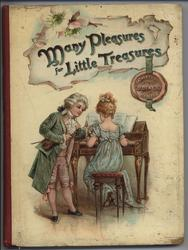 MANY PLEASURES FOR LITTLE TREASURES girl playing piano with young man standing beside her