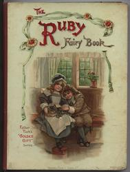 THE RUBY FAIRY BOOK two children sit on bench stroking cat