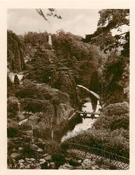 distant view of stream and gardens