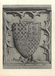 ARMS OF THE BLACK PRINCE IN COLOURED ENAMELS ON HIS TOMB