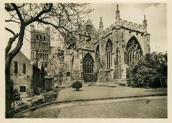 THE LADY CHAPEL (FROM THE PALACE GARDEN) EXETER CATHEDRAL