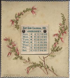 ART GEM CALENDAR, 1891 floral design on board