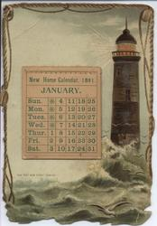 NEW HOME CALENDAR, 1891, lighthouse