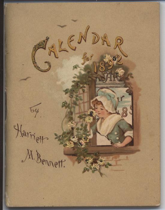 CALENDAR FOR 1892, girl in blue dress at open window