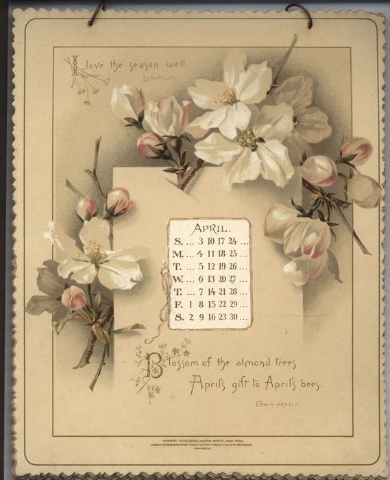 HEARTSEASE CALENDAR FOR 1892 - TuckDB Ephemera