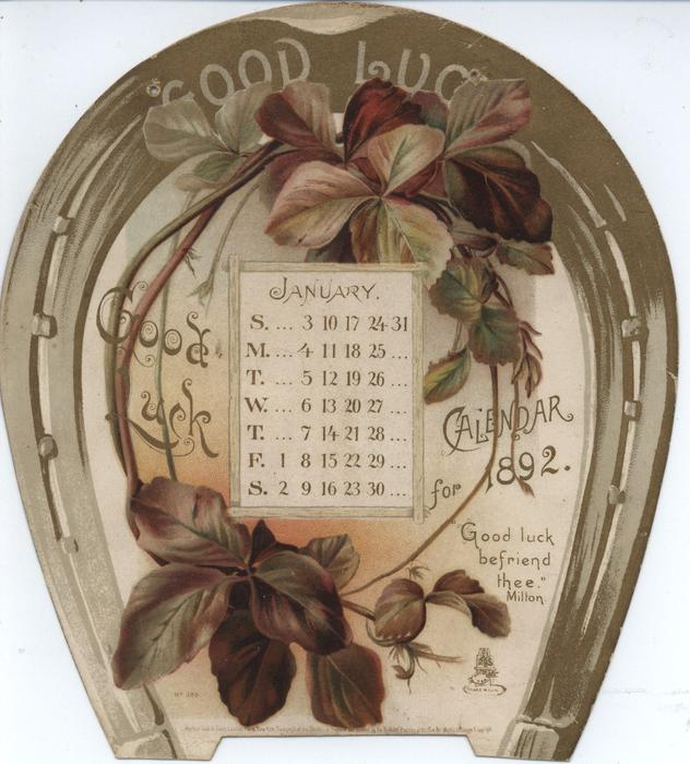Good Luck Calendar For 1892 Tuckdb Ephemera