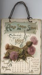 AULD LANG SYNE CALENDAR FOR 1895 WITH QUOTES FROM ROBERT BURNS