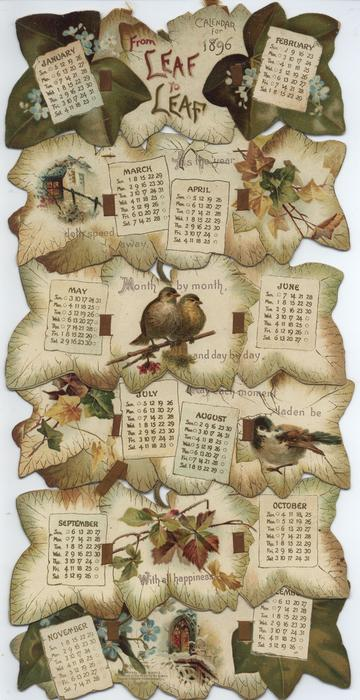 FROM LEAF TO LEAF CALENDAR FOR 1896