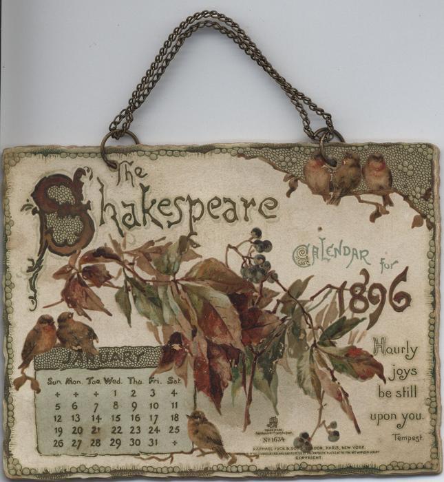THE SHAKESPEARE CALENDAR FOR 1896