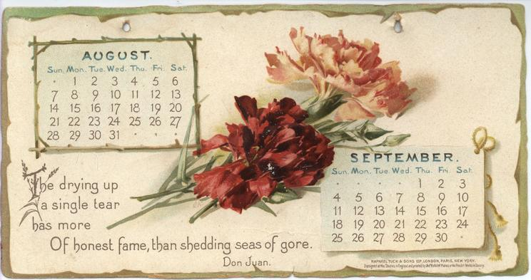BYRON CALENDAR FOR 1898