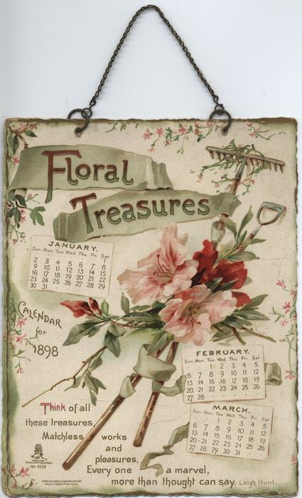 FLORAL TREASURES CALENDAR FOR 1898