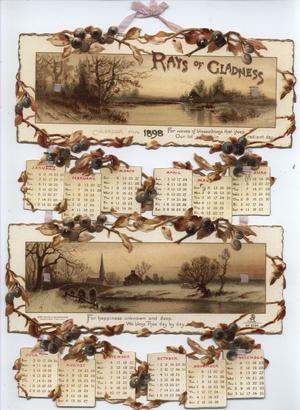 RAYS OF GLADNESS CALENDAR FOR 1898