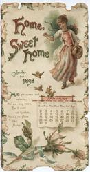 HOME SWEET HOME CALENDAR FOR 1898