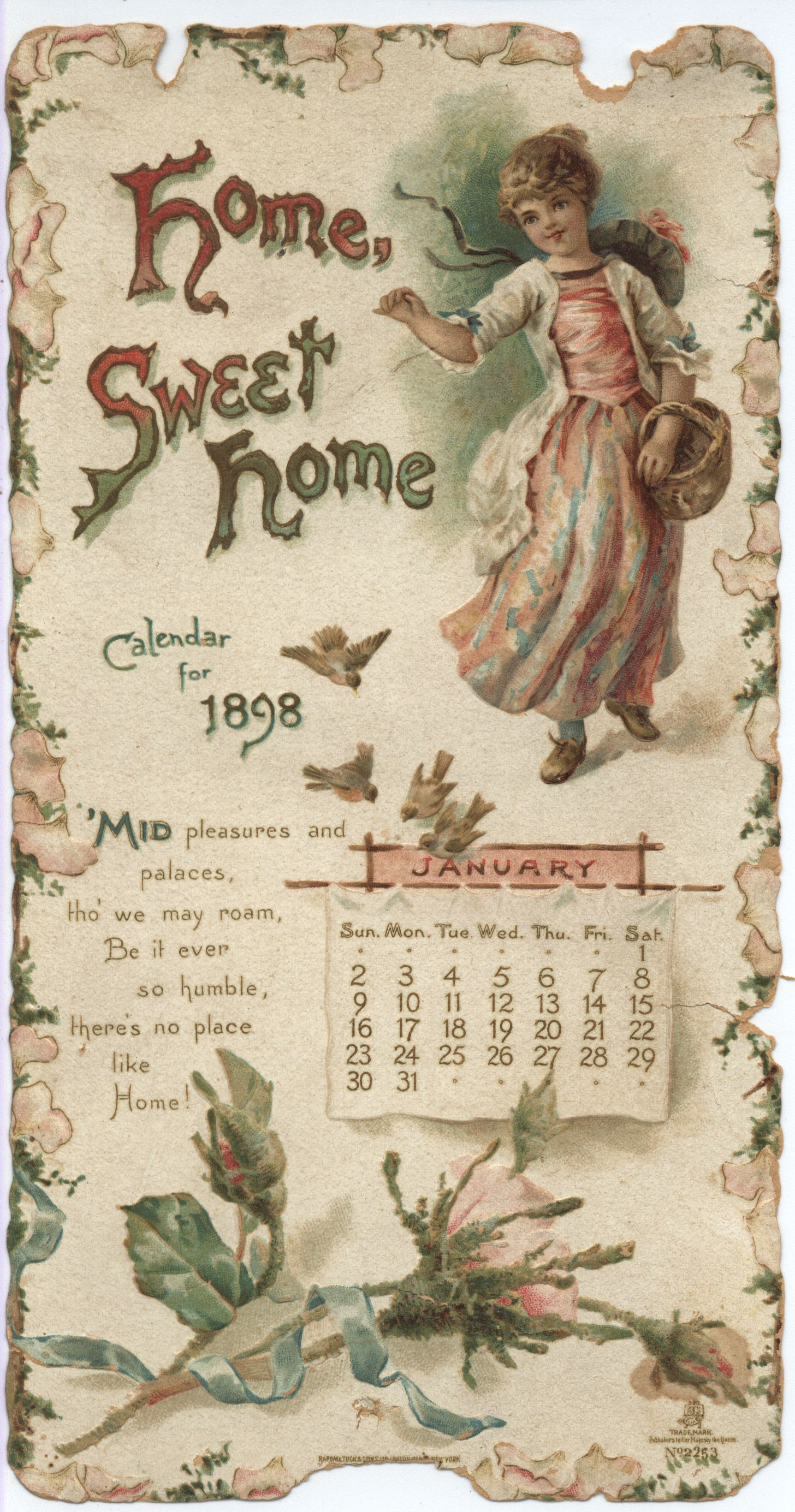 Home Sweet Home Calendar For 1898 Tuckdb Ephemera