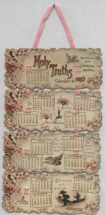 HOLY TRUTHS CALENDAR FOR 1899
