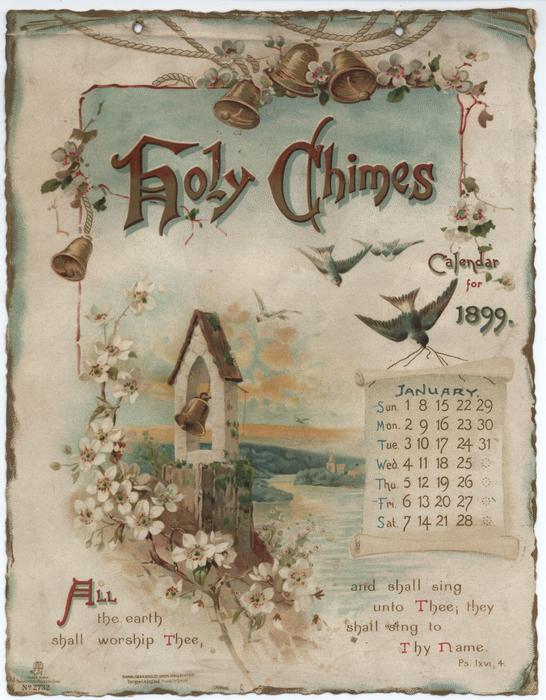 HOLY CHIMES CALENDAR FOR 1899