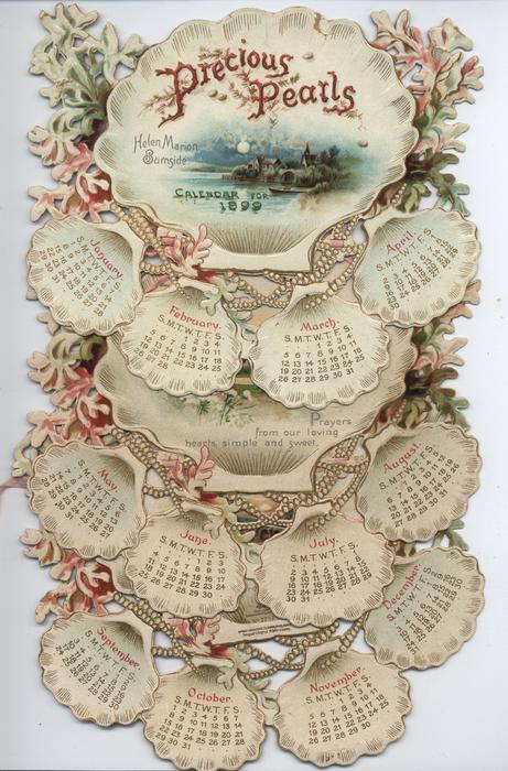 PRECIOUS PEARLS CALENDAR FOR 1899