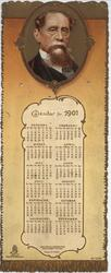 CALENDAR FOR 1901(inset of Dickens)