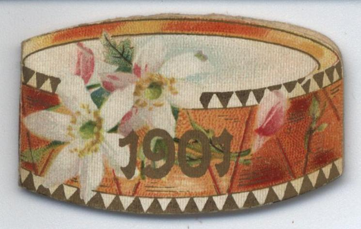 1901 drum shaped booklet, pink flowers