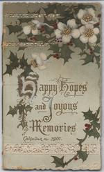 HAPPY HOPES AND JOYOUS MEMORIES CALENDAR FOR 1901