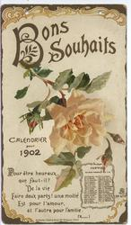 BONS SOUHAITS CALENDIER POUR 1902