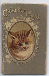 CALENDAR FOR 1902, inset cameo image of a tabby cat