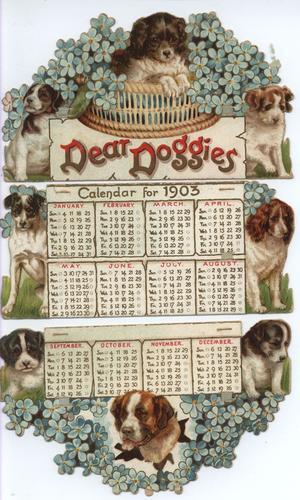 DEAR DOGGIES CALENDAR FOR 1903