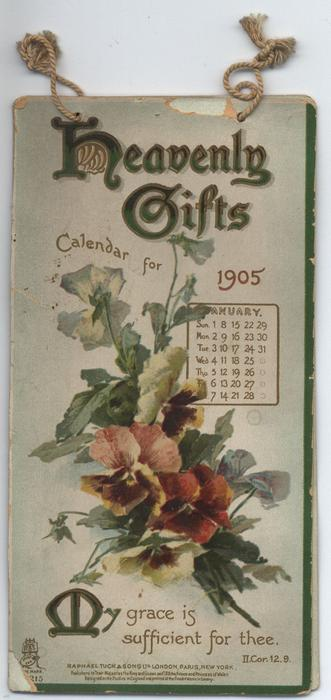 HEAVENLY GIFTS CALENDAR FOR 1905