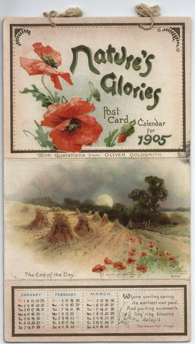 NATURE'S GLORIES POST CARD CALENDAR FOR 1905