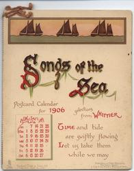 SONGS OF THE SEA POSTCARD CALENDAR FOR 1906 SELECTIONS FROM WHITTIER