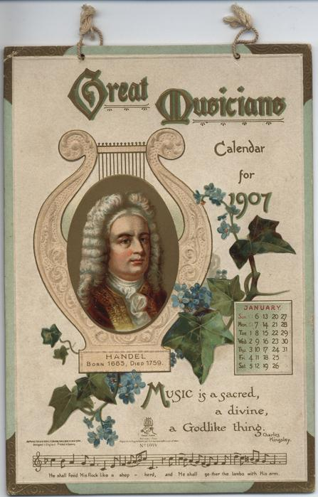 GREAT MUSICIANS CALENDAR FOR 1907