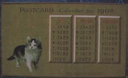 POSTCARD CALENDAR FOR 1908