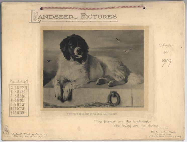LANDSEER PICTURES CALENDAR FOR 1909