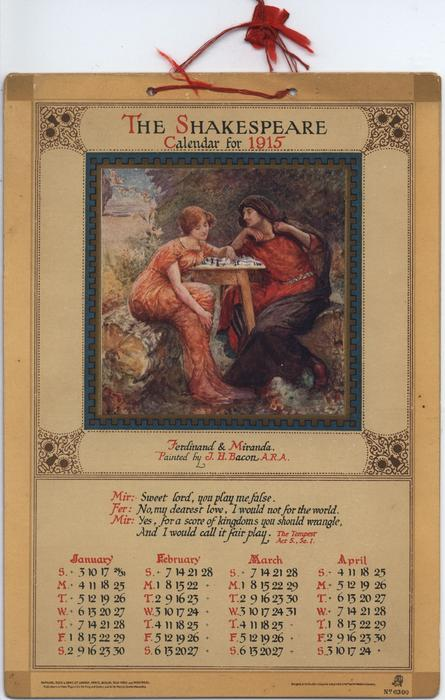 THE SHAKESPEARE CALENDAR FOR 1915