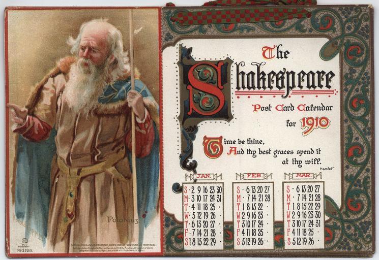 THE SHAKESPEARE POST CARD CALENDAR FOR 1910