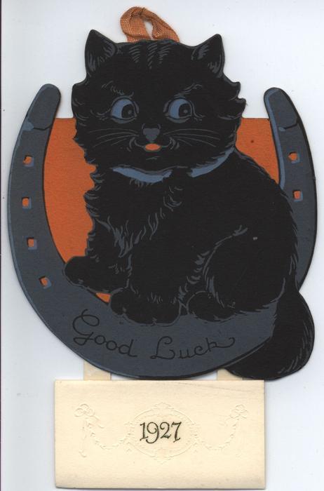 GOOD LUCK 1927 black cat sitting in horseshoe