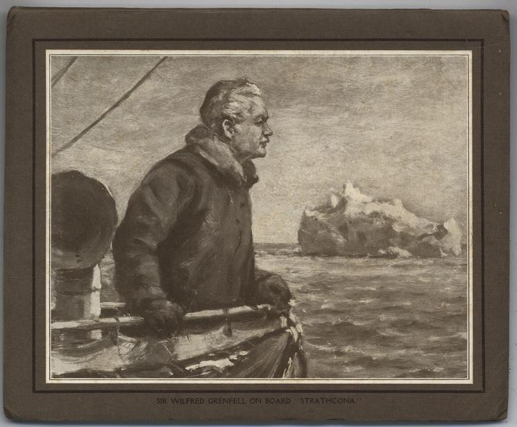 """SIR WILFRED GRENFELL ON BOARD """"STRATHCONA"""". sepia"""