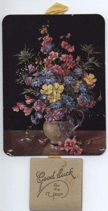 SUMMER'S LOVELINESS bouquet of flowers in vase (title on reverse)