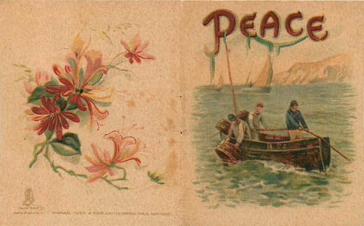 PEACE, fishermen in small boat, others and cliffs behind